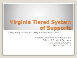 Virginia Tiered System of Supports