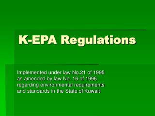 K-EPA Regulations