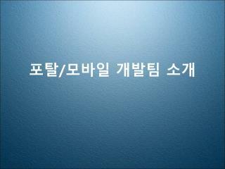 포탈 / 모바일  개발팀 소개