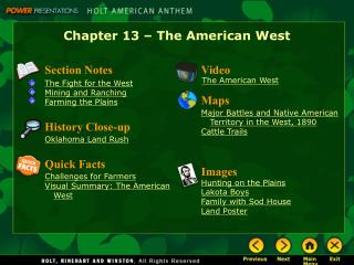 Chapter 13 – The American West