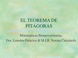 EL TEOREMA DE PIT GORAS