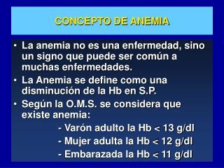 CONCEPTO DE ANEMIA
