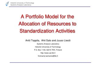 A Portfolio Model for the Allocation of Resources to Standardization Activities