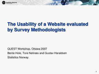 The Usability of a Website evaluated by Survey Methodologists