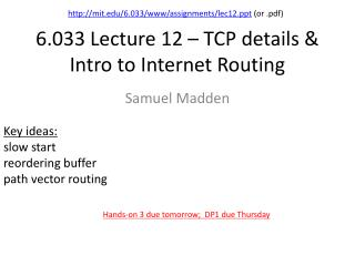 6.033 Lecture 12 – TCP details & Intro to Internet Routing