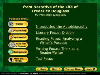 Introducing the Autobiography Literary Focus: Diction Reading Focus: Analyzing a Writer's Purpose
