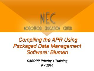 Compiling the APR Using Packaged Data Management Software: Blumen