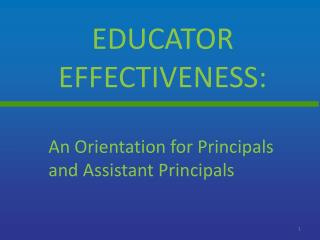 Educator effectiveness: