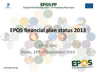 EPOS financial plan status 2013
