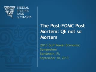 The Post-FOMC Post Mortem: QE not so Morte m