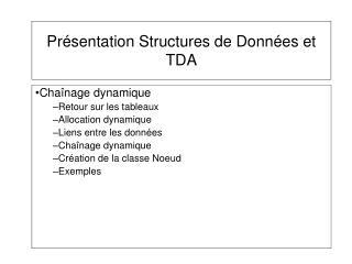 Présentation Structures de Données et TDA