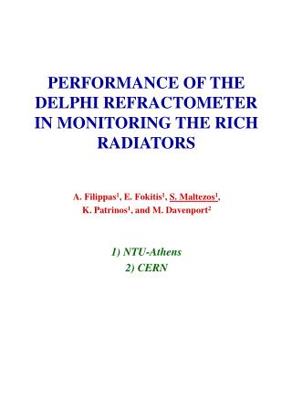 PERFORMANCE OF THE DELPHI REFRACTOMETER IN MONITORING THE RICH RADIATORS
