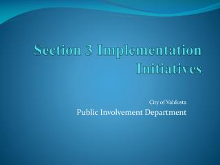 Section 3 Implementation Initiatives