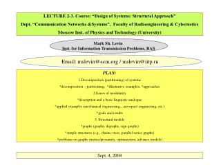 LECTURE 2-3. Course:  Design of Systems: Structural Approach   Dept.  Communication Networks Systems ,  Faculty of Radio