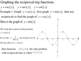 Reciprocal Trig Fns