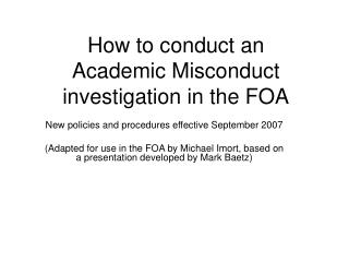 How to conduct an Academic Misconduct investigation in the FOA