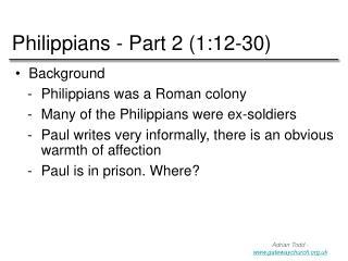 Philippians - Part 2 (1:12-30)