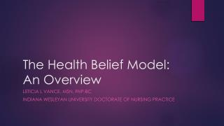 The Health Belief Model: An Overview