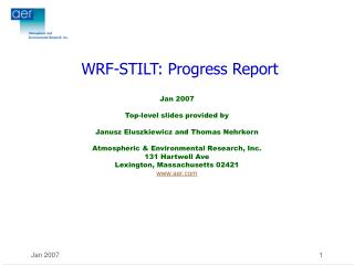 WRF-STILT: Progress Report