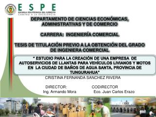 DEPARTAMENTO DE CIENCIAS ECONÓMICAS, ADMINISTRATIVAS Y DE COMERCIO CARRERA:  INGENIERÍA COMERCIAL