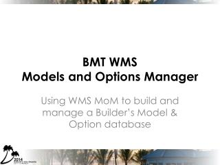 BMT  WMS  Models and Options Manager