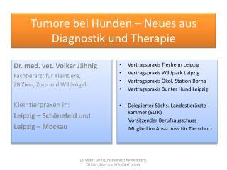Tumore bei Hunden – Neues aus Diagnostik und  T herapie