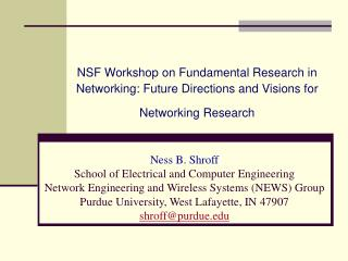 NSF Workshop on Fundamental Research in Networking: Future Directions and Visions for Networking Research