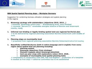 BBN Spatial Spatial Planning steps – Workplan Germany