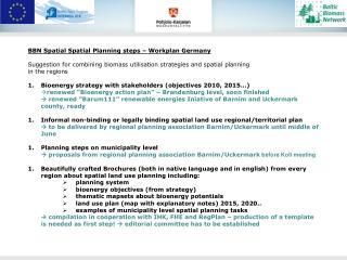 BBN Spatial Spatial Planning steps � Workplan Germany