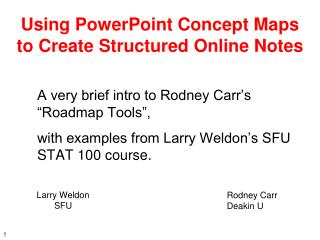 Using PowerPoint Concept Maps  to Create Structured Online Notes