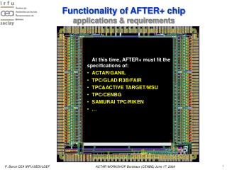 Functionality of AFTER+ chip applications & requirements