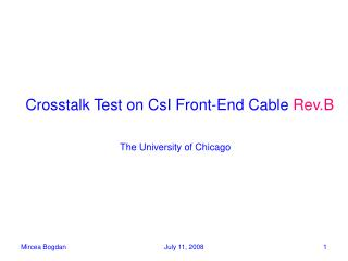 Crosstalk Test on CsI Front-End Cable  Rev.B