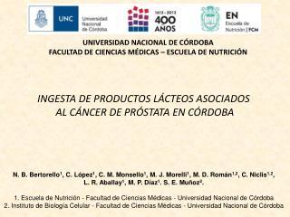 Ingesta de Productos Lácteos asociados  al Cáncer de Próstata en Córdoba