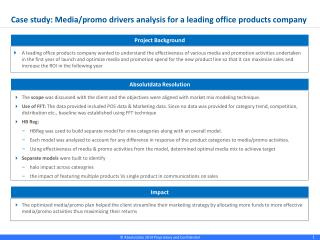 Case study: Media/promo drivers analysis  for  a  leading office products company
