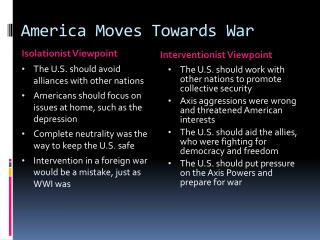 America Moves Towards War