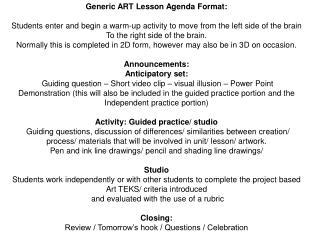 Generic ART Lesson Agenda Format: