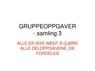 GRUPPEOPPGAVER - samling 3