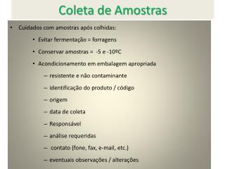 Coleta de Amostras