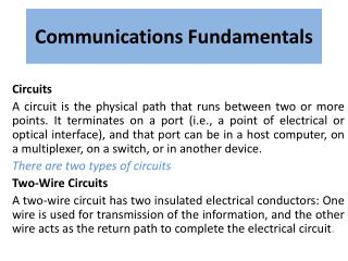 Communications Fundamentals