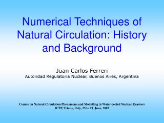 CONTENTS Purpose of this presentation and introductory       remarks   On numerical methods