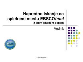 Napredno iskanje na spletnem mestu EBSCO host  z enim iskalnim poljem