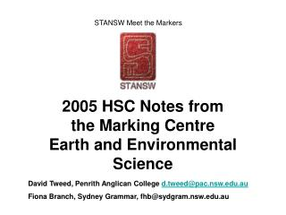 2005 HSC Notes from the Marking Centre Earth and Environmental Science