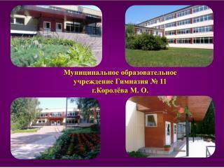 Муниципальное образовательное учреждение Гимназия № 11 г.Королёва М. О.