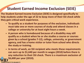 Student Earned Income Exclusion (SEIE)