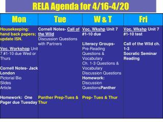 RELA Agenda for 4/16-4/20