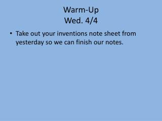 Warm-Up Wed. 4/4