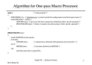 Algorithm for One-pass Macro Processor