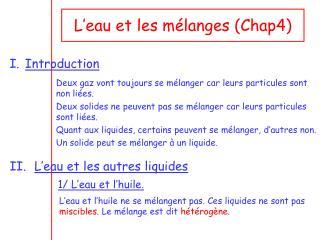 L'eau et les mélanges (Chap4)
