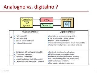 Analogno vs. digitalno ?