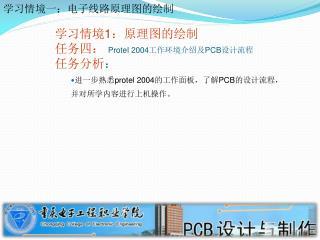 学习情境 1 :原理图的绘制 任务四:  Protel 2004 工作环境介绍及 PCB 设计流程 任务分析 :